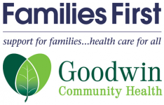 Families First Blue Text over Goodwin Community Health Green Text with Green Leaves