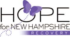 Hope for NH Recovery Logo, Black Text with Purple Butterfly