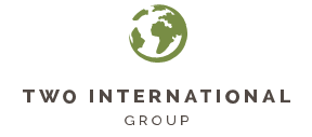 Two International Group Logo, Green World Graphic with Charcoal Grey Lettering