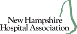 New Hampshire Hospital Association Logo, Black Text, Teal State of New Hampshire Graphic