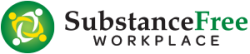 Substance Free Workplace Logo, Green Circle with 4 people intertwined