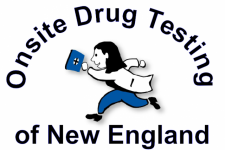 Onsite Drug Testing of New England logo, person running in blue pants