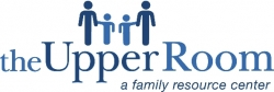 blue logo with images of a family holding hands
